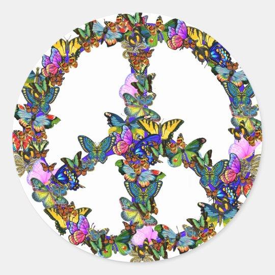 Butterfly Peace Symbol Round Sticker