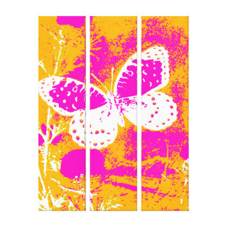 Butterfly - Pink, White with Orange Canvas Print