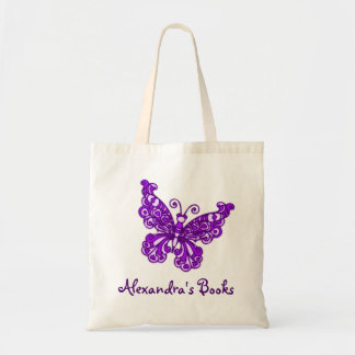Butterfly purple kids named library tote bag