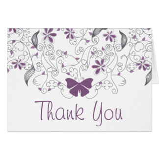 Butterfly Purple Whimsy Thank You Card