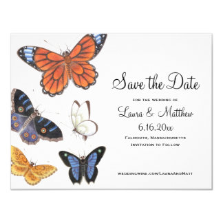 Butterfly Save The Date - Vintage Illustration 11 Cm X 14 Cm Invitation Card