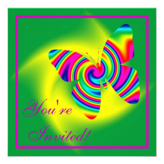 Butterfly Shaped Rainbow Twirl Personalized Invitations