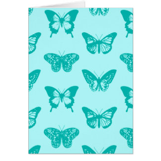 Butterfly sketch, aqua and turquoise greeting cards