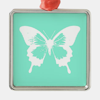 Butterfly sketch, aqua and white christmas ornament