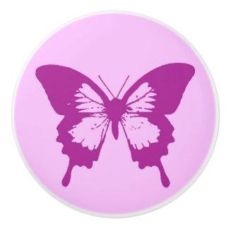 Butterfly sketch, ice pink & amethyst purple ceramic knob