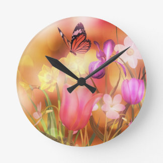 Butterfly spring sun dance clock