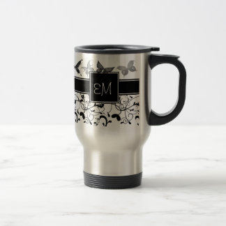 Butterfly Victorian Flourish Black White Stainless Steel Travel Mug