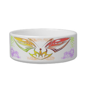 Butterfly with Flowers Cat Pet Bowl