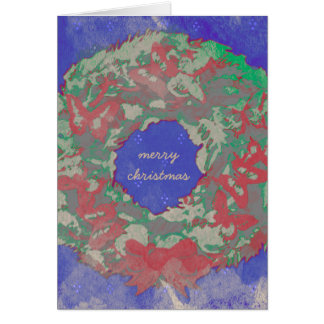 """""""Butterfly Wreath"""" Holiday Note Card (Wrds-RGB)"""
