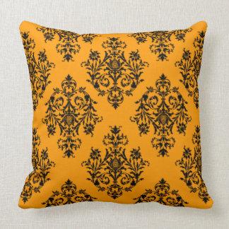 Butternut orange Damask Pattern Throw Pillow
