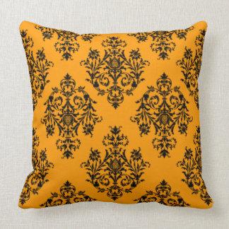 Butternut orange Damask Pattern Pillow
