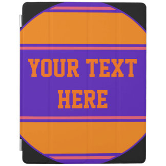BUTTON ROUND stripes orange violet + your idea iPad Cover