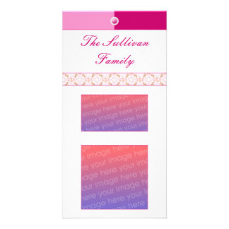 Button Up Pink And White Custom Photo Card