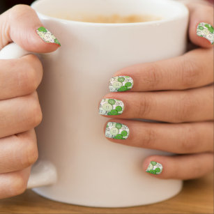 Green And White Nail Art Nail Wraps Zazzle