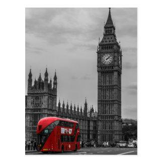 BW Black & White London Red Bus & Big Ben Postcard