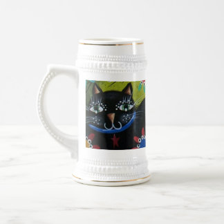 By Lori Everett_ Day Of The Dead,Mexican,Black Cat Beer Stein