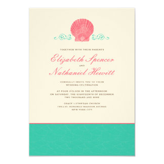 By The Sea Wedding Invitation in Cyan & Pink