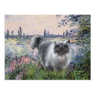 By the Seine - Blue Smoke Persian cat Postcard