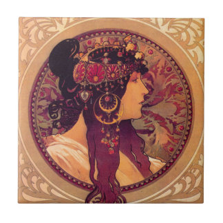 Byzantine Heads: Brunette Alfons Mucha Small Square Tile