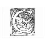 C-Art Nouveau Lady Intitial Postcard