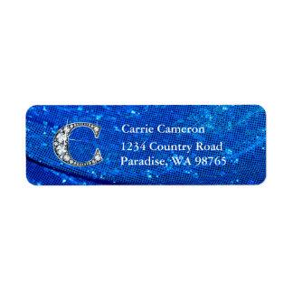 """C """"Diamond"""" Bling Monogram Return Address Label"""