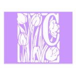 C Floral Monogram Post Card