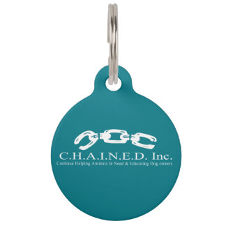 C.H.A.I.N.E.D. Inc. Logo Dog Tag (White Font) Pet ID Tags