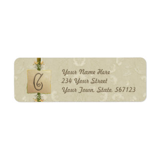 C - Ivory Elegance Monogram Return Address Label