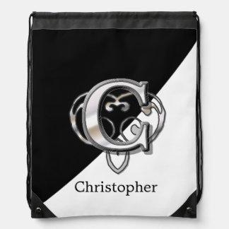 C - Modern Metallic Monogram Drawstring Bag