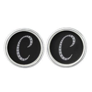 C monogram bling cuff links