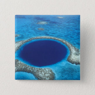 CA, Belize. Aerial view of Blue Hole (diameter 15 Cm Square Badge