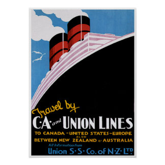 CA & Union Lines - Vintage Ship Advertisement Poster