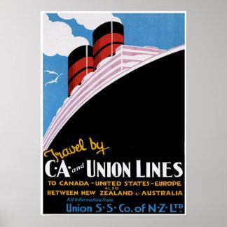 CA Union Lines - Vintage Ship Advertisement Print