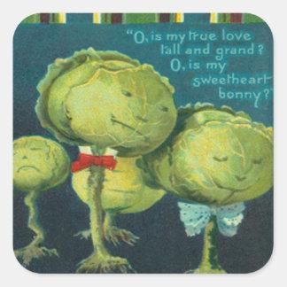 Cabbage Lettuce Creature Monster Science Fiction Square Sticker