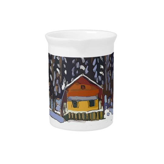 Cabin In Snow Beverage Pitcher