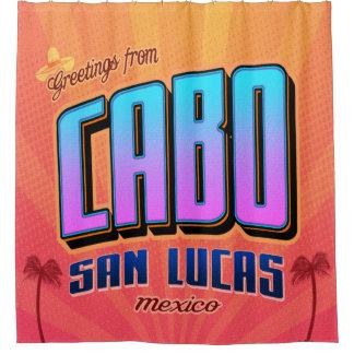 Cabo San Lucas Retro Shower Curtain