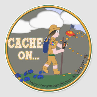 CACHE ON! GEOCACHING CHICK GIRL BRUNETTE ROUND STICKER