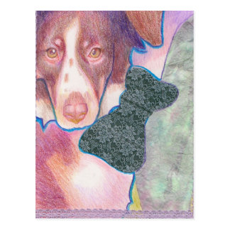 cachorra con lazo/ puppy with bow postcard