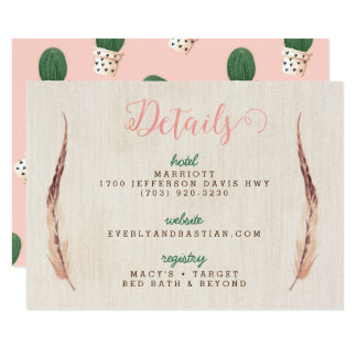 Cactus Desert Wedding Information Cards 9 Cm X 13 Cm Invitation Card