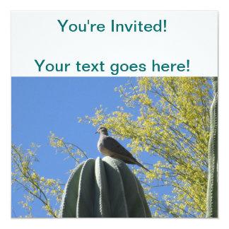 Cactus Dove 13 Cm X 13 Cm Square Invitation Card