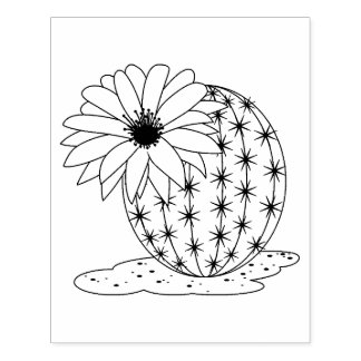Cactus Flower Coloring Page Rubber Stamp