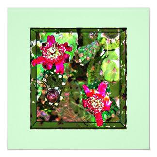 CACTUS FLOWER 13 CM X 13 CM SQUARE INVITATION CARD