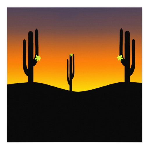 Cactus Flower Sunset Personalized Announcement