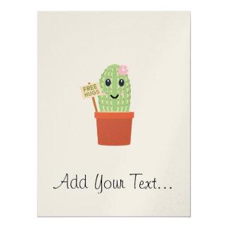 Cactus free hugs 17 cm x 22 cm invitation card