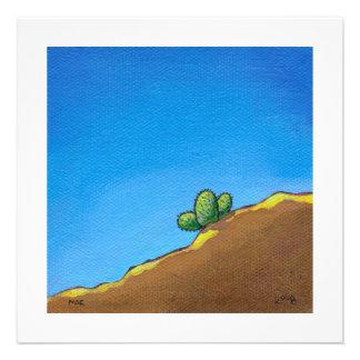 Cactus fun desert landscape art colorful painting invitation