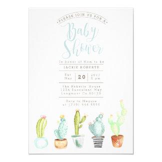 Cactus Garden   Watercolor Baby Shower Invite