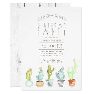 Cactus Garden   Watercolor Birthday Party Invite