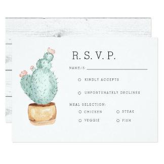Cactus Garden   Watercolor RSVP Card