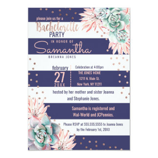 Cactus Navy Stripes Rose Gold Bachelorette Party Card
