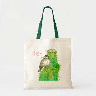 Cactus Wren State Bird of Arizona Saguaro Tote Bag